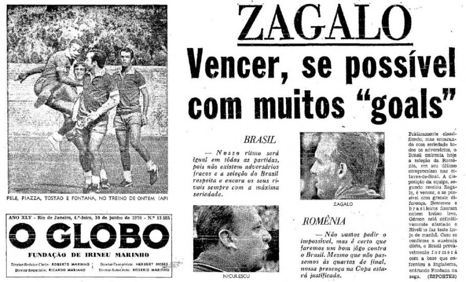 Capa do Jornal O Globo na véspera do jogo.