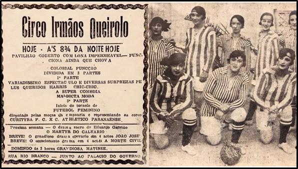 Convite de divulgação de uma partida de futebol feminino do Circo Irmãos Queirolo.